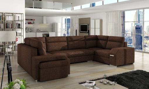 Sofá grande en forma de U con cama y 3 arcones - Baia. Color marrón (Inari 28). Esquina lado izquierdo