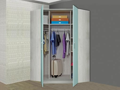 Inside the Luddo Corner Wardrobe (Doors Open)