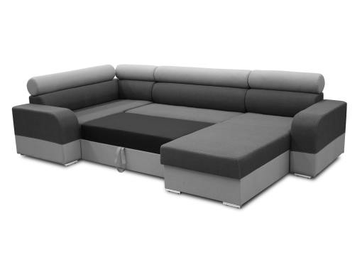Pull-out bed. Spacious U-shaped sofa with pull-out bed - Milan. Left Side Corner, Dark Grey and Light Grey