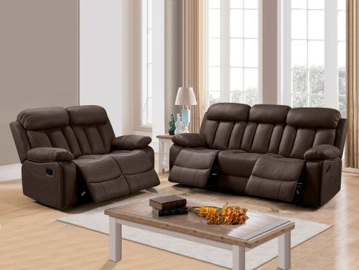 """Set of Recliner Sofas Uholstered in Brown (""""Chocolate"""") Fabric - 3 Seater & 2 Seater (3+2) - Barcelona"""