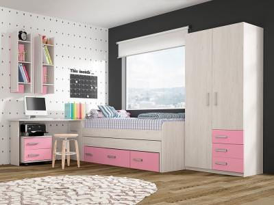 Kids Room Composition in Pink: Bed, Wardrobe, Bedside Table, Desk, Shelves - Luddo 18
