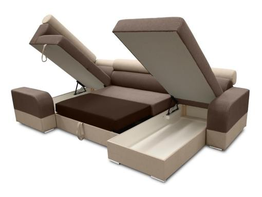 Two storage compartments and pull-out bed. U-shaped sofa - Milan. Left Side Corner, Brown and Beige