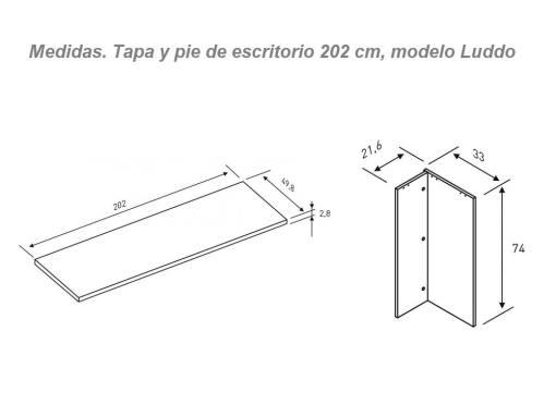 Medidas de tapa y pie de mesa estudio modelo Luddo 202 cm