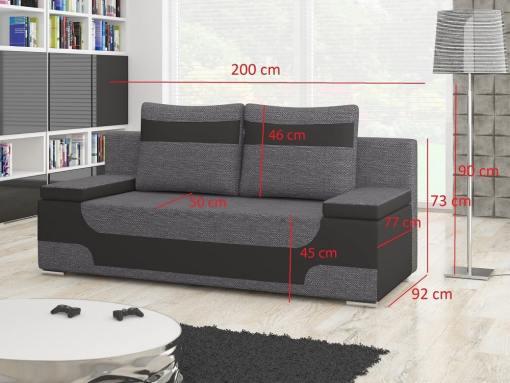 Medidas del sofá cama bicolor con arcón modelo Ely