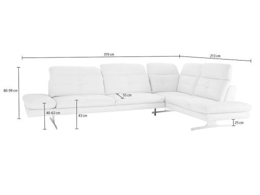 Medidas del sofá rinconera moderno de piel auténtica - modelo New York