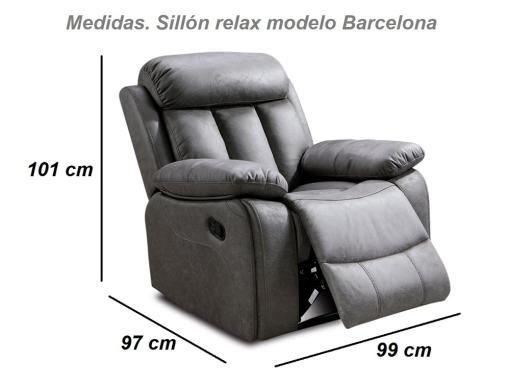 Dimensions of the Recliner Armchair - model Barcelona