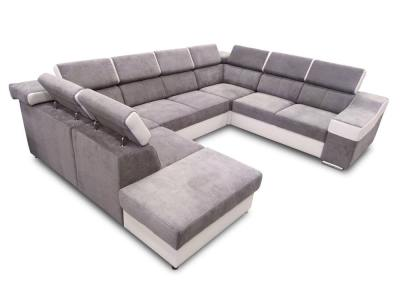 Seven seater U-shaped sofa with pull-out bed - Cannes. Armrest on the right. Light grey fabric / white faux leather