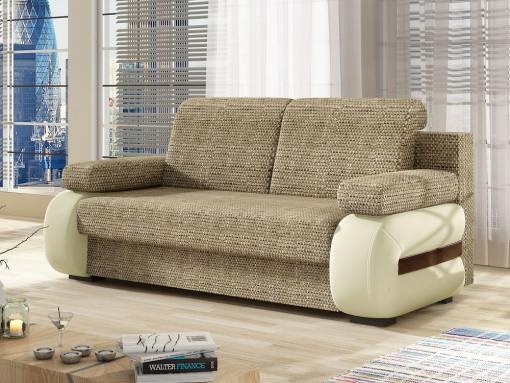 Sofá cama pequeño moderno con cojines laterales. Marrón claro con beige. Cambridge
