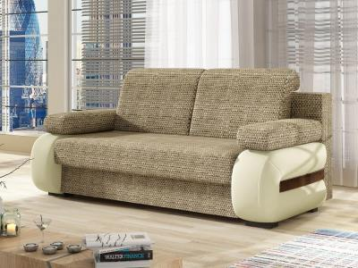 Small Modern Sofa Bed with Side Cushions (Armrests) – Cambridge. Light Brown and Beige