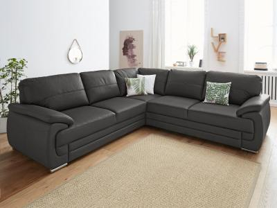 Leather Corner Sofa with Pull-out Bed and Storage in Dark Grey - Dallas