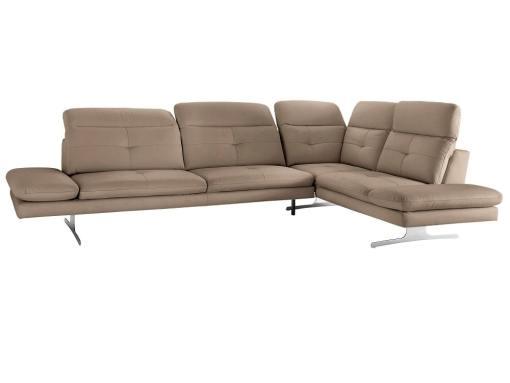 Sofá rinconera moderno de piel auténtica color marrón claro. Esquina lado derecho. Modelo New York