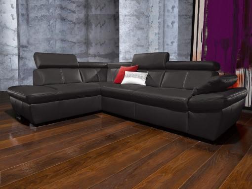 Sofá rinconera piel auténtica con cama, arcón, reposacabezas reclinables. Negro, izquierda. Modelo Vienna