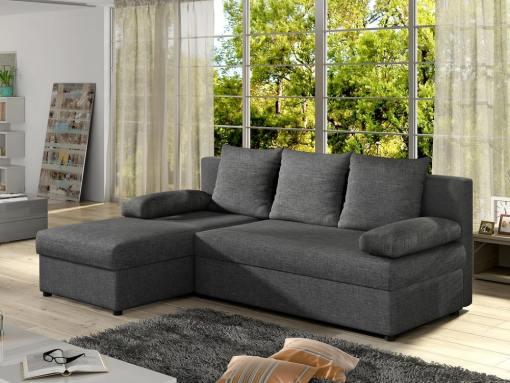 Серый компактный угловой диван-кровать -York. Угол слева