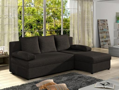 Small chaise longue sofa bed - York. Dark brown fabric. Chaise longue on the right
