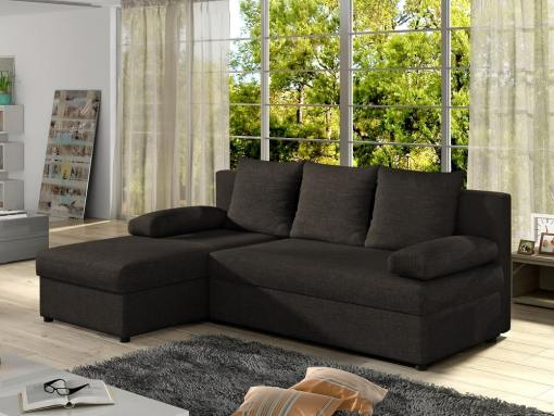 Small chaise longue sofa bed - York. Dark brown fabric. Chaise longue on the left