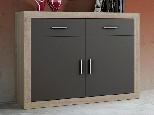Aparador pequeño moderno, 2 cajones, 2 puertas - Catania. Color roble con puertas color grafito (gris oscuro)