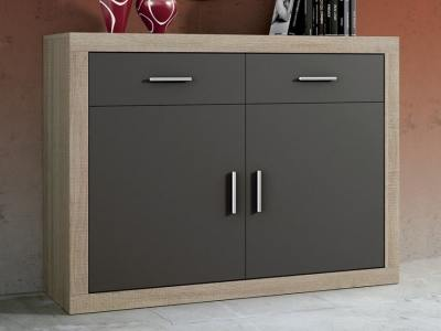 "Small modern sideboard, 2 drawers, 2 doors - Catania. ""Oak"" with dark grey doors"