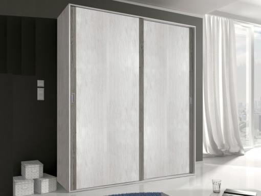 Armario moderno, 2 puertas correderas - Catania. Gris claro con líneas gris