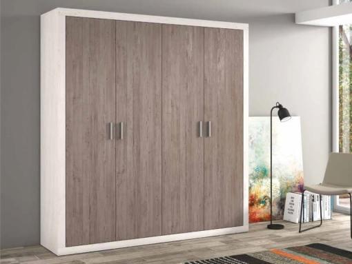 Armario moderno grande, 4 puertas batientes - Catania. Gris claro con puertas gris