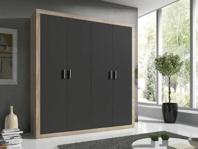 Modern 4 Hinged Door Wardrobe – Catania. Oak Colour with Dark Grey Doors