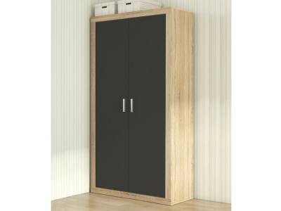 Small modern 2 hinged door wardrobe – Catania. Oak colour with dark grey doors