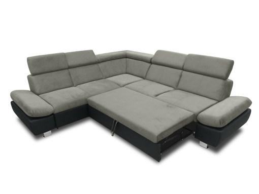 Cama abierta del sofá rinconera con baúl extraíble (izquierdo) y reposabrazos reclinables - Reims. Gris con negro