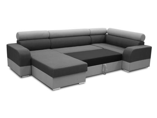 Pull-out bed. Spacious U-shaped sofa with pull-out bed - Milan. Right Side Corner, Dark Grey and Light Grey