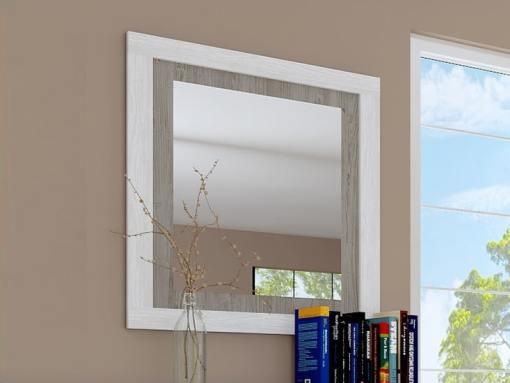 Espejo con marco bicolor 75 x 90 cm - Catania. Gris claro con gris