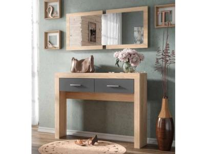 "Hallway table with 2 drawers and wall mirror - Catania. ""Oak"" with grey fronts"