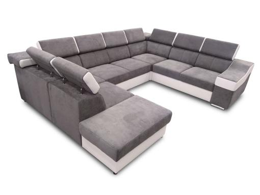Sofá 7 plazas en forma de U con cama extraíble y reposacabezas reclinables - Cannes. Brazo lado derecho. Tela gris polipiel blanca