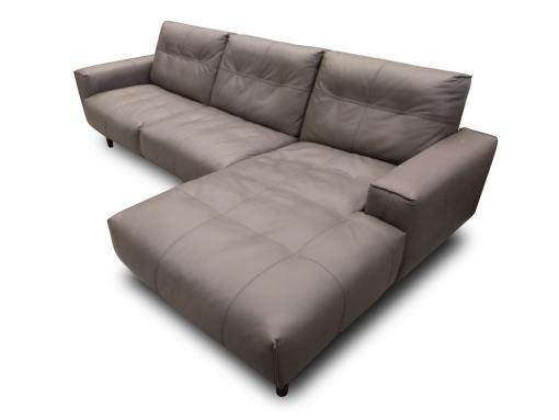 Угловой диван обитый натуральной кожей - Denver. Тёплый серый цвет. Правый угол