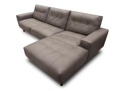 Chaise Longue Sofa Upholstered in Leather - Denver. Warm Grey Color. Right Side Chaise Longue