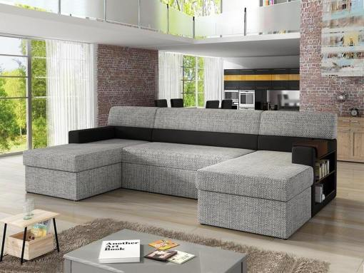 U-shaped Sofa with Side Shelves (Right Side), 2 Storage Compartments and Pull-out Bed - Preston. Grey with Black