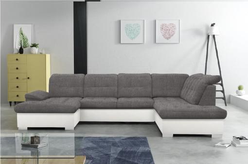 Sofá en forma de U con reposacabezas reclinables - Toronto. Gris con polipiel blanca esquina lado derecho