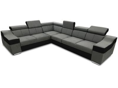 Large 6 seater corner sofa with high headrests – Grenoble. Dark grey with black. Left side corner