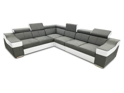 Large 6 Seater Corner Sofa with High Headrests – Grenoble. Left Side Corner. Grey Fabric and White Faux Leather