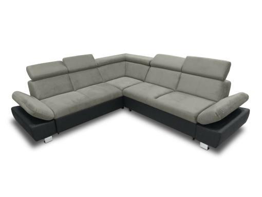 Sofá rinconera con cama, baúl extraíble (izquierdo) y reposabrazos reclinables - Reims. Gris con negro