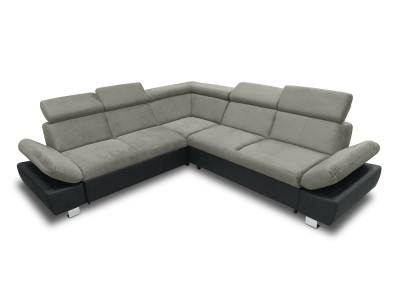 Corner Sofa with Bed, Storage Drawer (Left Side) and Reclining Armrests - Reims. Grey and Black