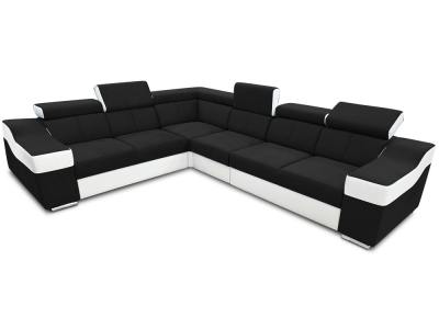 Large 6 seater corner sofa with high headrests – Grenoble. Black with white. Left side corner
