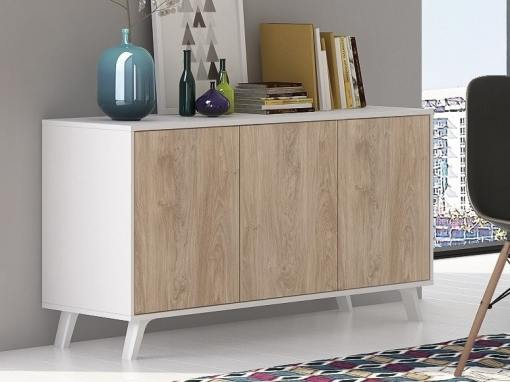 """Scandinavian style sideboard with inclined legs - Lucca. White and """"oak"""" colours"""