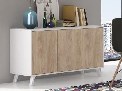 "Scandinavian style sideboard with inclined legs - Lucca. White and ""oak"" colours"