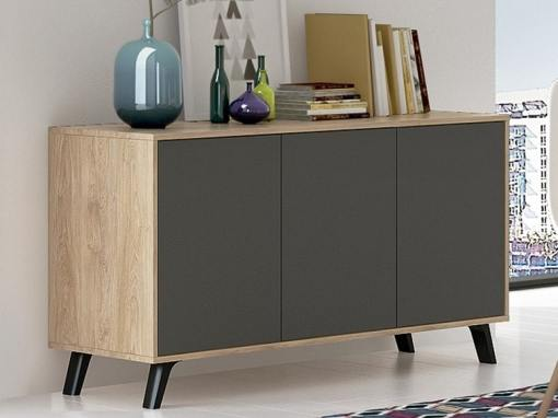"""Scandinavian style sideboard with inclined legs - Lucca. """"Oak"""" and dark grey colours"""