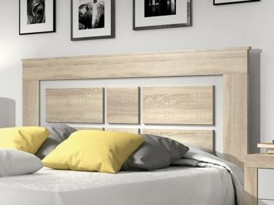 "Modern style double bed headboard with legs, 160 cm - Catania. Colours: ""oak"" and white"