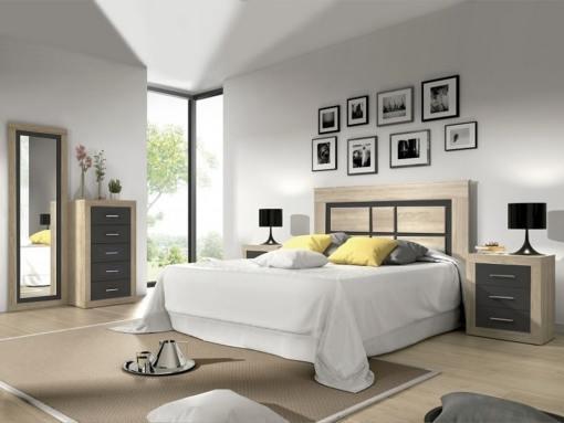 Conjunto de dormitorio - cabecero, 2 mesitas, sinfonier, espejo grande. Color roble con gris oscuro - Catania 02