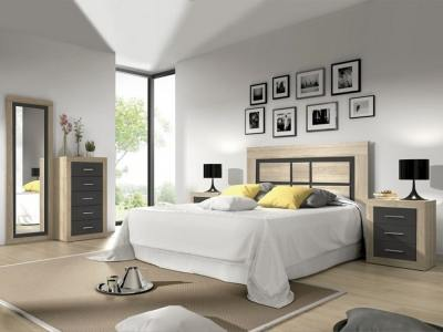 "Bedroom set: tall chest of drawers, headboard, 2 bedside tables, full length mirror - Catania 02. ""Oak"" + dark grey"