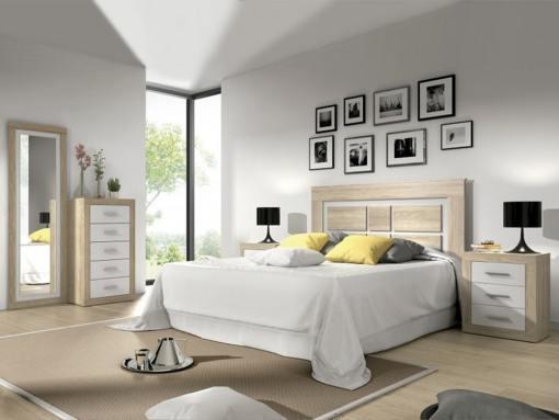 Conjunto de dormitorio - cabecero, 2 mesitas, sinfonier, espejo grande. Color roble con blanco - Catania 02
