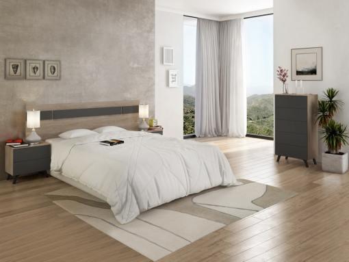 Conjunto dormitorio estilo nórdico - cabecero LED, 2 mesitas de noche y sinfonier - Lucca. Color roble + gris oscuro