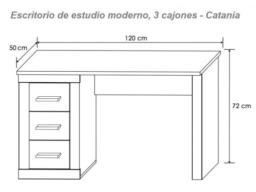Medidas. Escritorio de estudio moderno, tres cajones modelo Catania