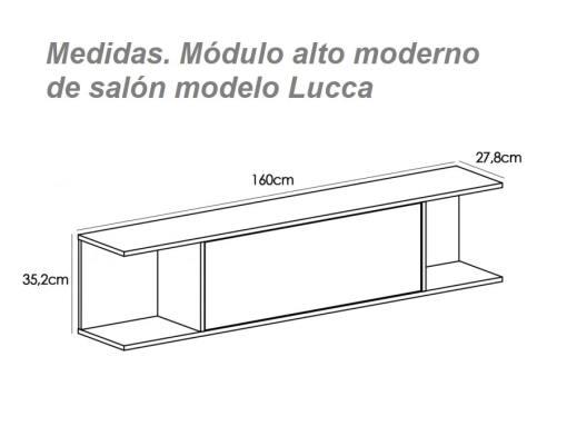 Medidas. Módulo alto moderno de salón modelo Lucca