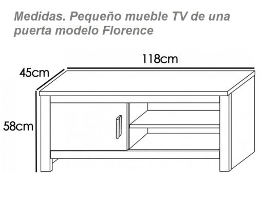 Dimensions of the Small One Door TV Stand, 118 cm - Florence